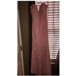 Pink neckline dress.